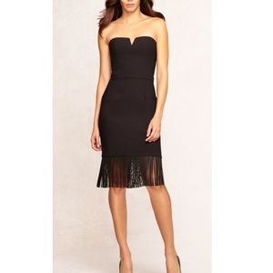Aidan Mattox Black Strapless Dress w Fringe